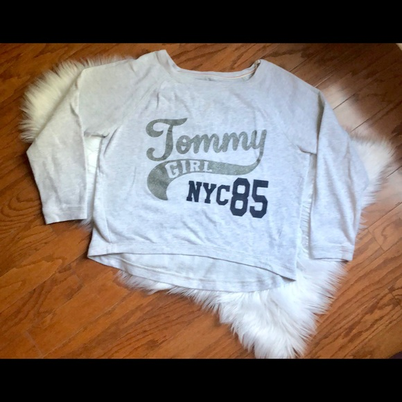 f646366e Tommy Hilfiger Tops | Womens Size Large Tommy Girl Gray Sweatshirt ...